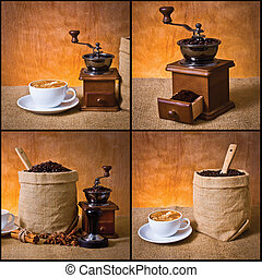 coffee set - set of coffee, cup of coffee,ground coffee in,...