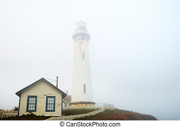 Pigeon Point Lighthouse In Dense Fog - Pigeon Point...