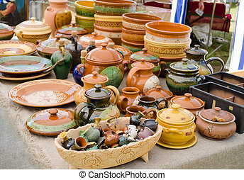 handmade ceramic clay ware souvenirs street market - rustic...