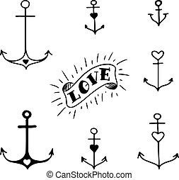 Set of seven hand drawn anchors in tattoo style