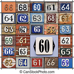Numbers 60s - Collage of House numbers 60s