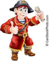 Friendly pirate and treasure map - A cartoon pirate giving a...