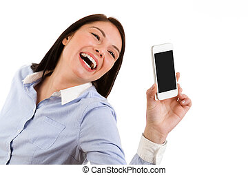 Portrait of young laughing brunette woman taking a self portrait with her phone