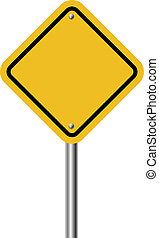 Blank diamond shaped warning yellow sign isolated on white...