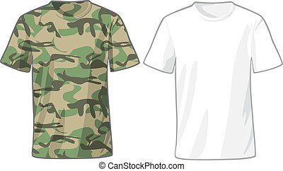 Men's White and Military Shirts template - Men's White and...
