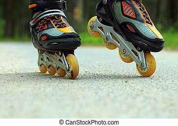 Roller Skating - Sport roller skating on a forest path among...