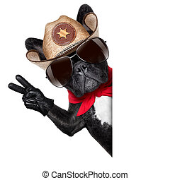 cowboy dog - peace or victory fingers cowboy dog beside...
