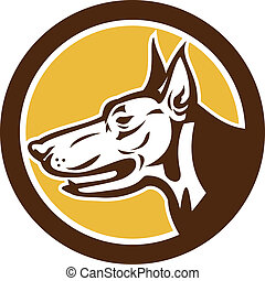Doberman Pinscher Head Circle Retro - Illustration of a...