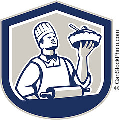 Chef Cook Hold Up Pie Shield Retro - Illustration of a chef,...