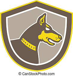 Doberman Pinscher Head Side Shield Retro - Illustration of a...