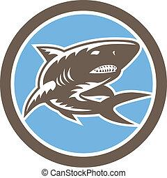 Shark Swimming Up Woodcut Retro
