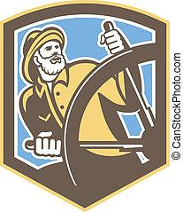 Sea Captain Fisherman Steering Shield Retro - Illustration...