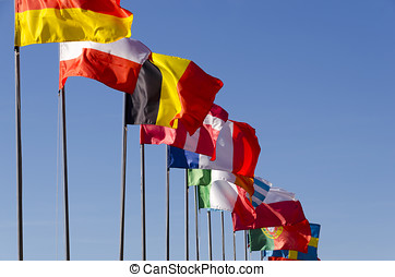 international flags - International flags waving together on...