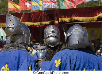 Three french knights - Three french medieval knights in blue...