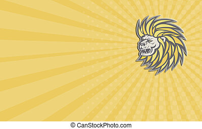 Lion Head With Flowing Mane Retro Business card - Business...