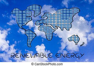 world map covered in solar panels - renewable energy: the...