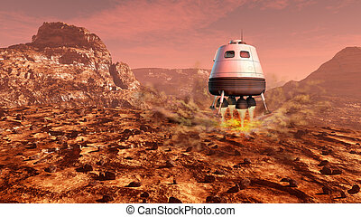 Mars exploration - Space module landing on Mars surface....