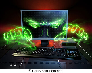 Cyber attack - Menacing eyes and hands coming out from a...