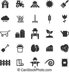 Farming icons on white background