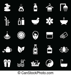 Spa icons on black background, stock vector