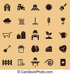 Farming color icons on brown background, stock vector