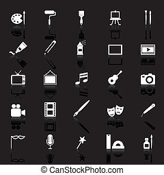 Art icons with reflect on black background