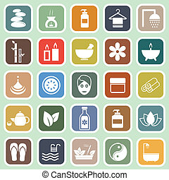 Spa flat icons on green background