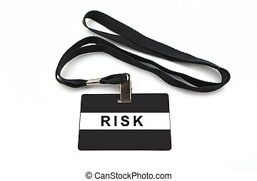 risk badge isolated on white background - risk badge with...