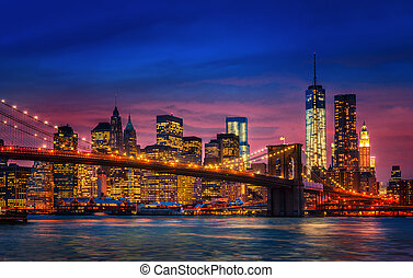 Manhattan with lights and reflections - Brooklyn Bridge,...