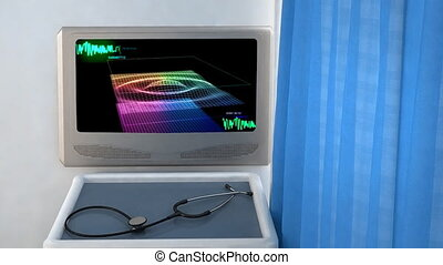 3D wave monitor in screen closeup - the graphic of ekg...