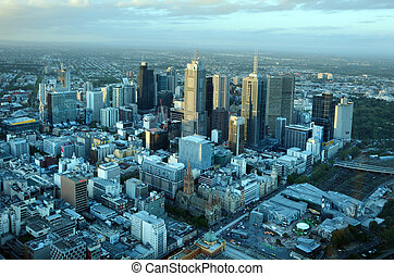 Aerial view of Melbourne Australia - MELBOURNE - APR 14,...