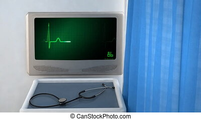 heart EKG monitor green - the graphic of ekg monitor for...