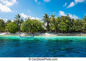 Maldives Indian Ocean - Hotel on the island. Maldives Indian...
