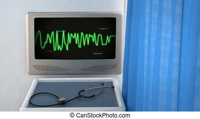 wave code in screen closeup - the graphic of ekg monitor for...