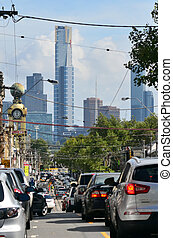 Heavy traffic in Melbourne - MELBOURNE - APR 13, 2014:Heavy...