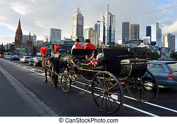 Melbourne Skyline - MELBOURNE - APR 13, 2014:Traffic under...