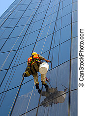 Window cleaner - MELBOURNE - APR 14, 2014:Window cleaner...