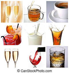 Collage of drink related pictures made from nine images