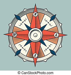 Vintage colourful graphic compass isolated on light...