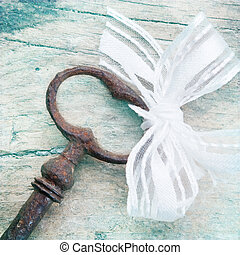 Shabby Chic Background with antique key