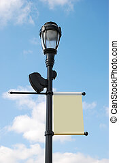 streetlight with blank banner