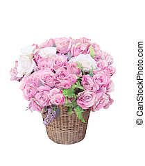 pink roses flowers bouquet arrangement in bamboo basket for...