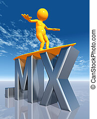 MX Top Level Domain of Mexico - Computer generated 3D...