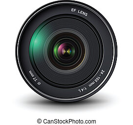 photo lens - camera photo lens, vector illustration.
