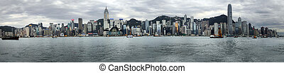 Hong Kong - HONG KONG - APRIL 26: Panorama of 10 frames....
