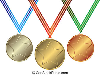 Collection  medals with striped  ribbons