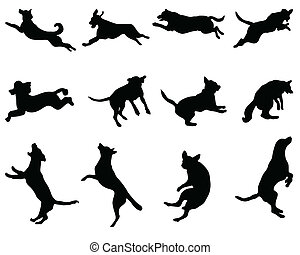 dogs - Black silhouettes of jumping dogs, vector