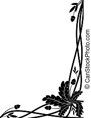 oak border - vector border with oak branch in black and...