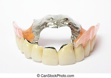False Teeth Denture, Crown, Bridge - Denture on white...