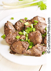 Chicken liver with green onion